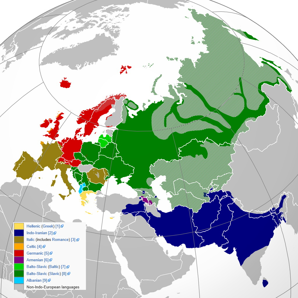 Present-day native distribution of Indo-European languages, within their homeland of Eurasia