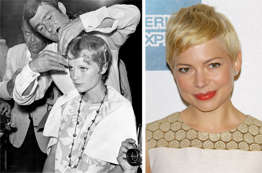 Mia Farrow with Vidal Sassoon; Michelle Williams short cut. photo by Kevin Winter