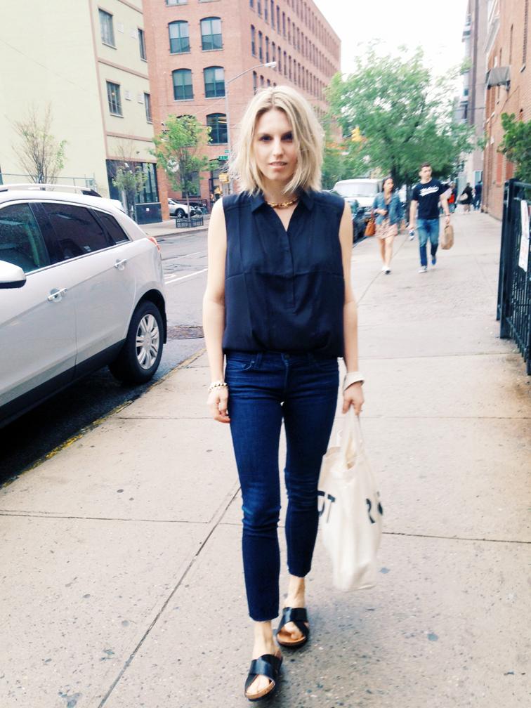 Black sleeveless silk top from Ann Taylo, J Brand jeans, ankle cutoffs, vintage gold choker, H&M crisscross slides