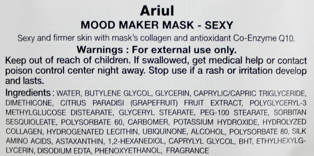 ARIUL NOBODY KNOWS WHY I'M SO SEXY SHEET MASK ingredients English