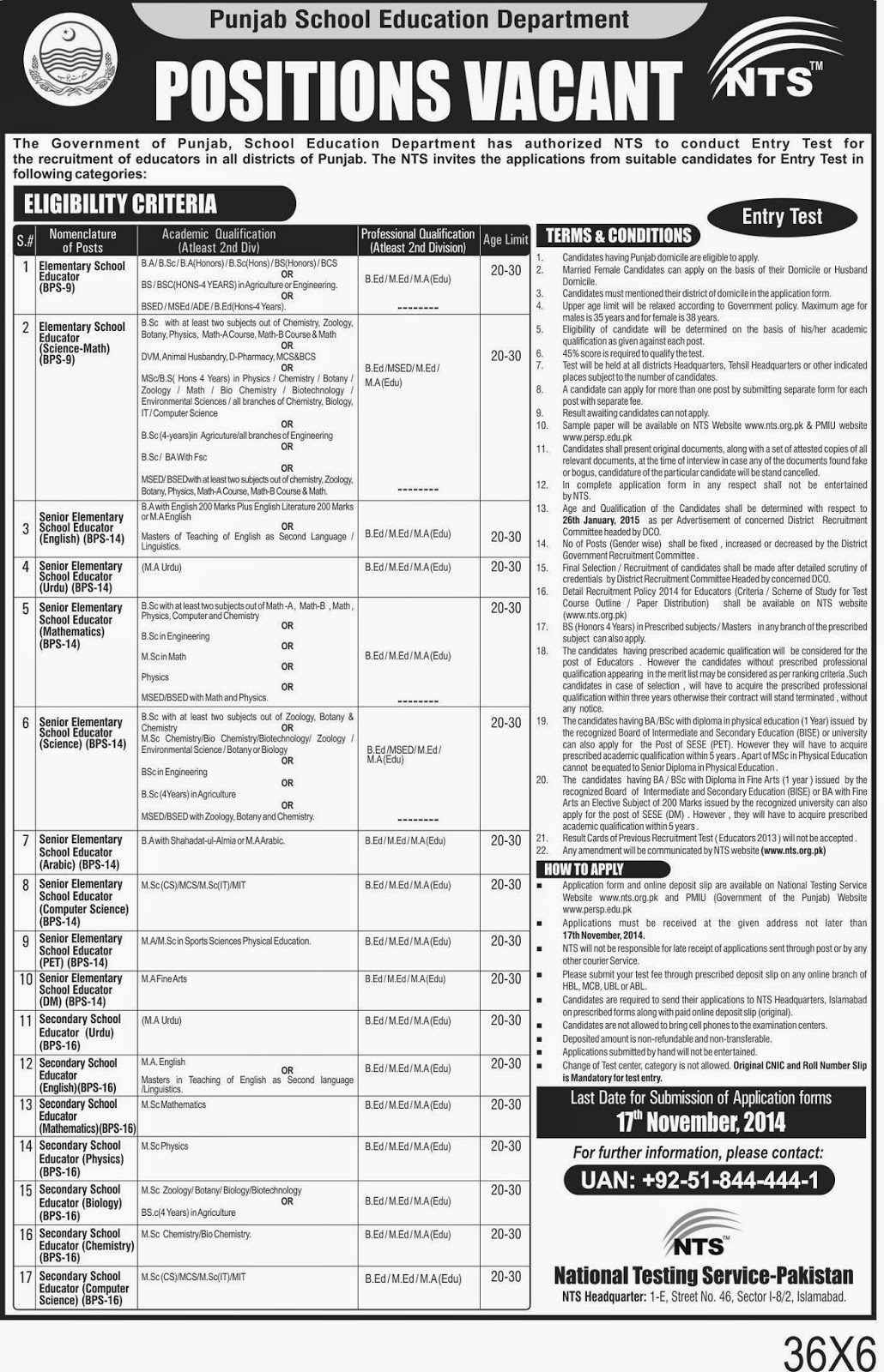 Punjab School Education Department (Agri Jobs 2014) Pakistan
