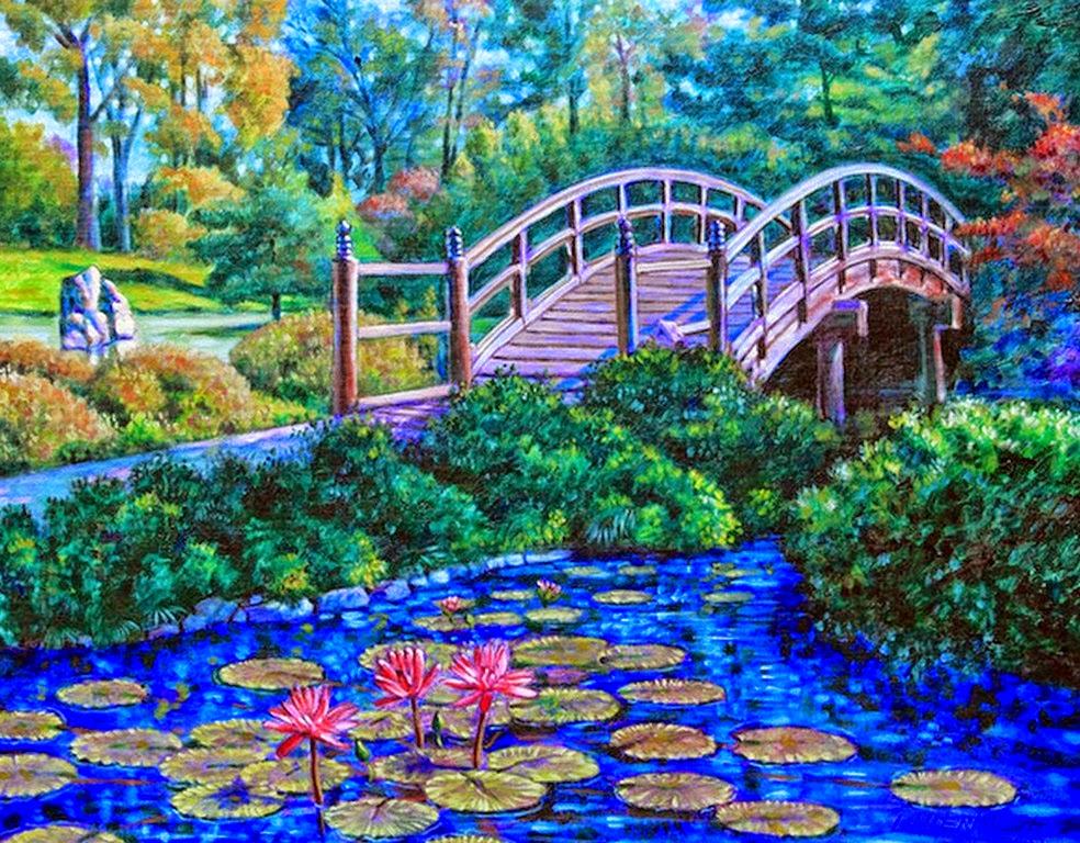 cuadro-de-paisaje-con-flores-y-puentes
