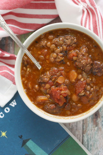 Slow Cooker Lentil Soup with Sausage and Tomatoes