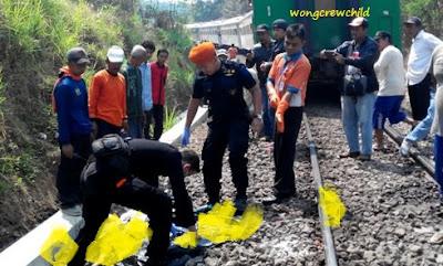 korban bunuh diri tabrakan ke kereta api