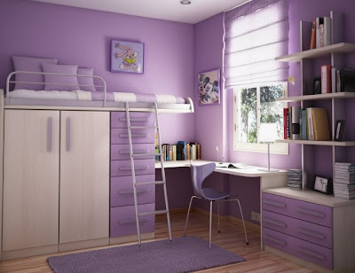 Cool Teen Purple Dorm Room Design Idea
