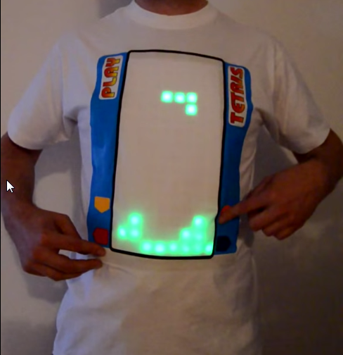Camiseta com o joguinho do Tetris