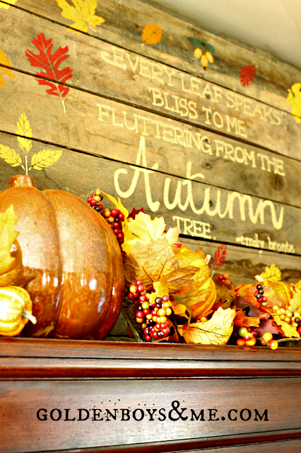 pallet sign, part of fall mantel via www.goldenboysandme.com