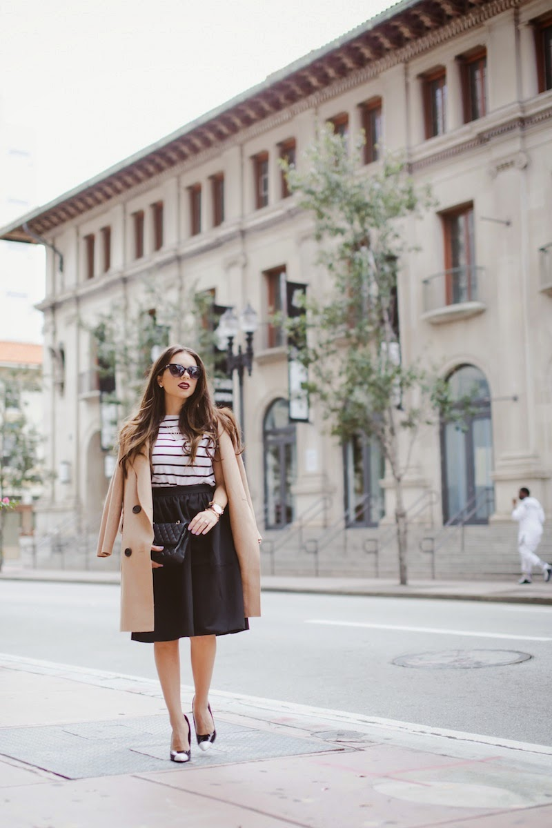 miami fashion blogger, fashion blogger, nany's klozet, daniela ramirez, parisian inspired, midi skirt, camel cape, cat eye sunglasses, striped top