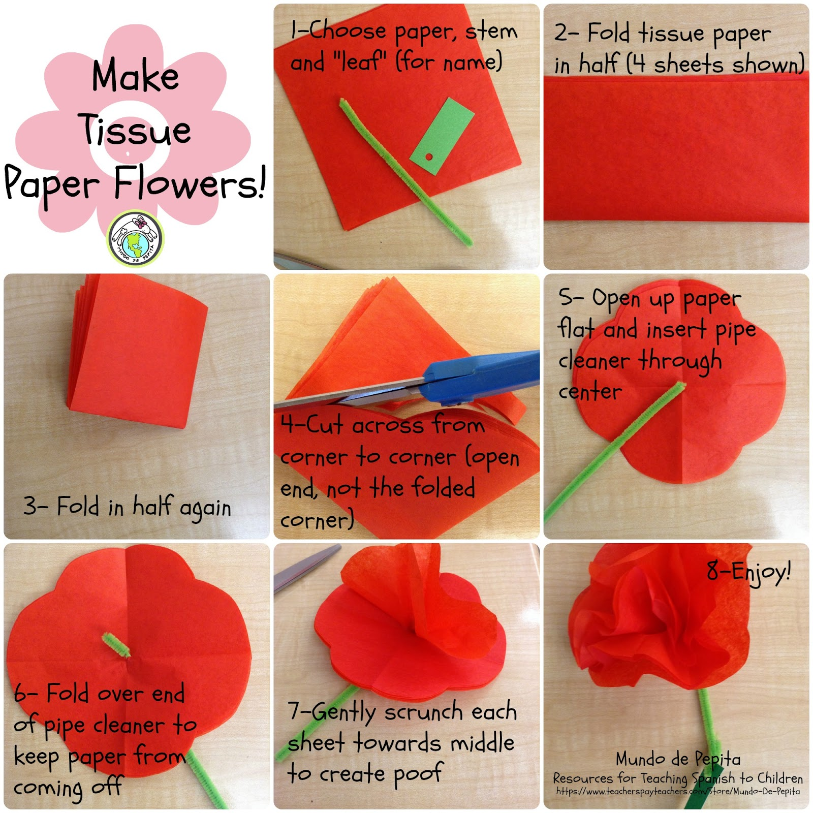 7 Steps For Making Tissue Paper Flowers Mundo De Pepita