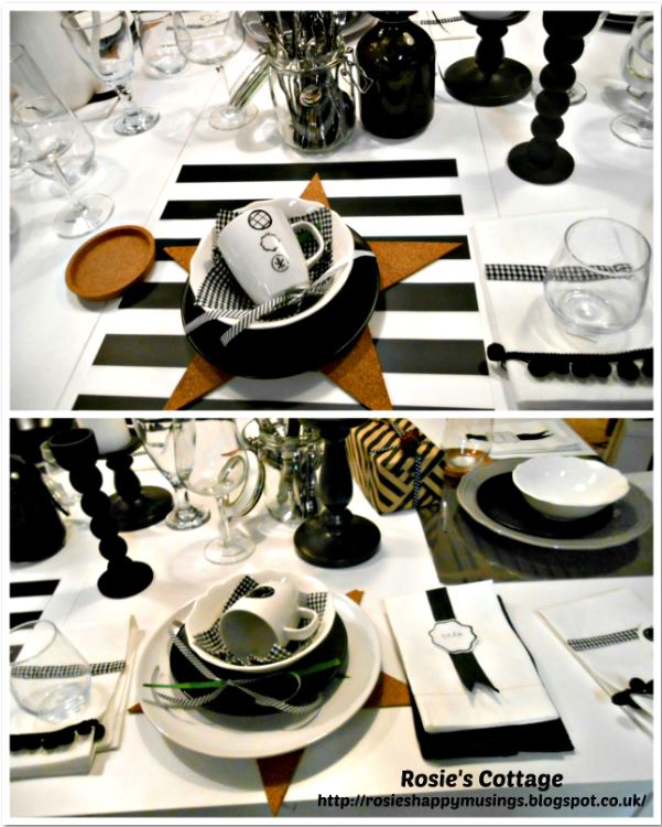 Ikea black and white dining place settings