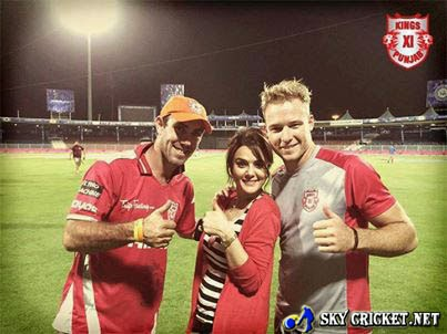 Co owner of Punjab Preity Zinta along with Maxwell and Miller