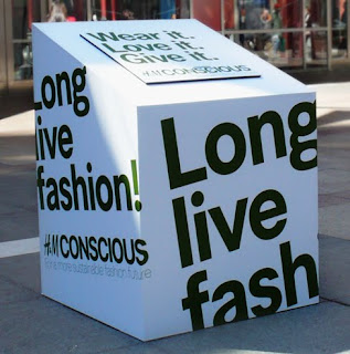H&M helps you recycle. Long Live Fashion box so your used clothing can keep on giving.