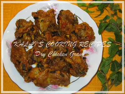 Dry Chicken Gravy with Mint, Coriander and Curd