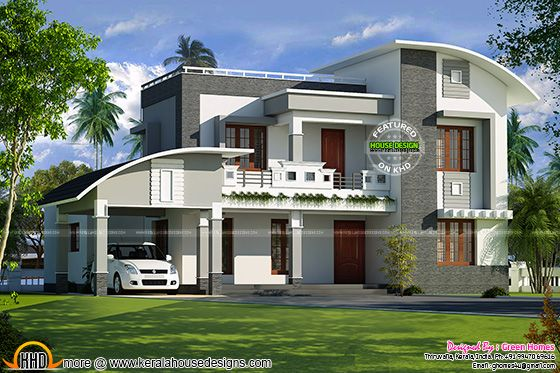 Curved roof+flat roof Kerala house plan
