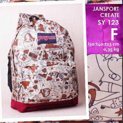 jual online tas ransel jansport kanvas kw murah motif music and girl