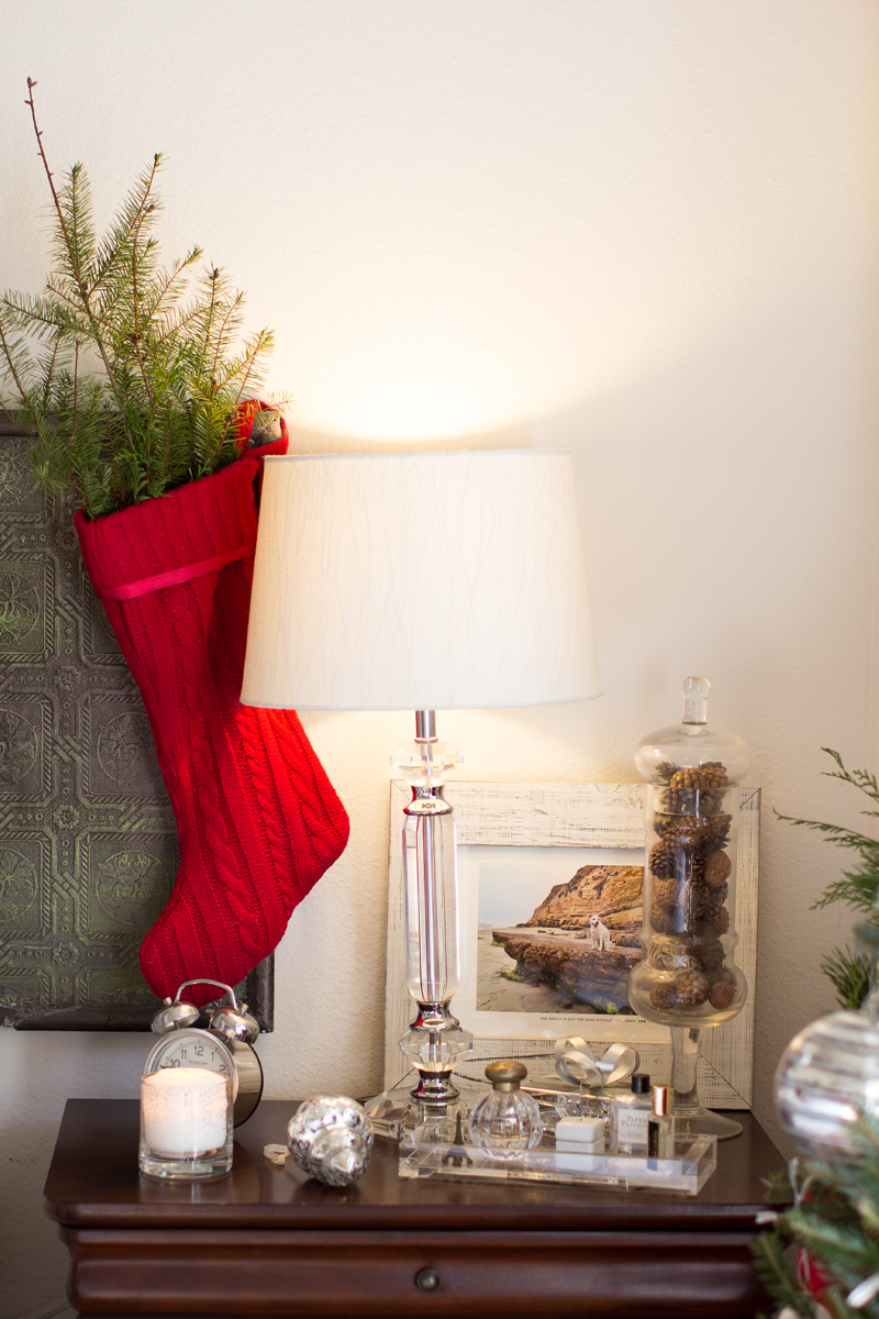 bedroom side table christmas decor