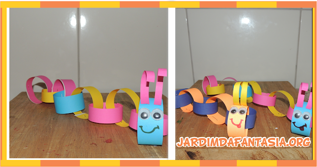 Lagarta de papel colorido Artes Manuais para Crianças