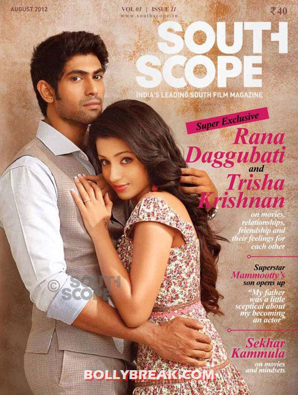 Trisha Krishnan with Rana Daggubati on south Scope Magazine Cover - Trisha Krishnan on South Scope August 2012 with Rana Daggubati 