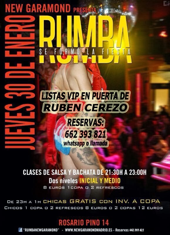 listas NEW GARAMOND JUEVES, 30 DE ENERO: RUMBA - NEW AFTERWORK