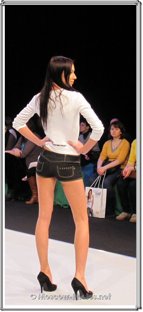 Long Legs Fashion Model In Micro Shorts. Collection Premiere Moscow 2012.