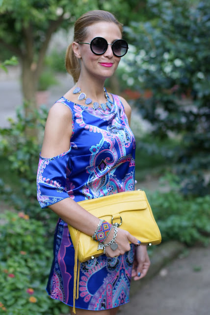 satin mini dress, Rebecca Minkoff yellow bag, Asos round glasses, Fashion and Cookies, fashion blogger
