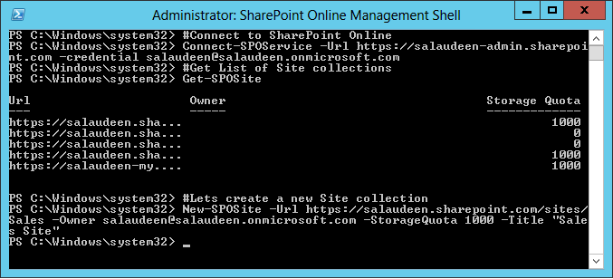 sharepoint online powershell create site collection