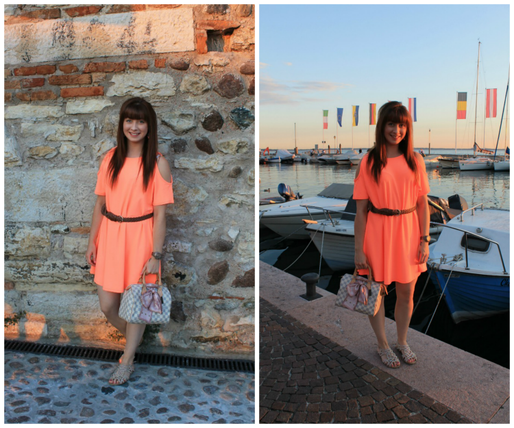 River Island coral swing dress review