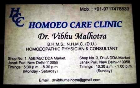 Homoeopathic Physician and Consultant in West Delhi– Dr. Vibhu Malhotra