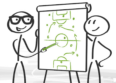 2 stick figures stand at a flip chart as they draw game plays