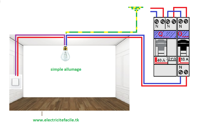 sch mas lectriques sch ma lectrique simple allumage. Black Bedroom Furniture Sets. Home Design Ideas