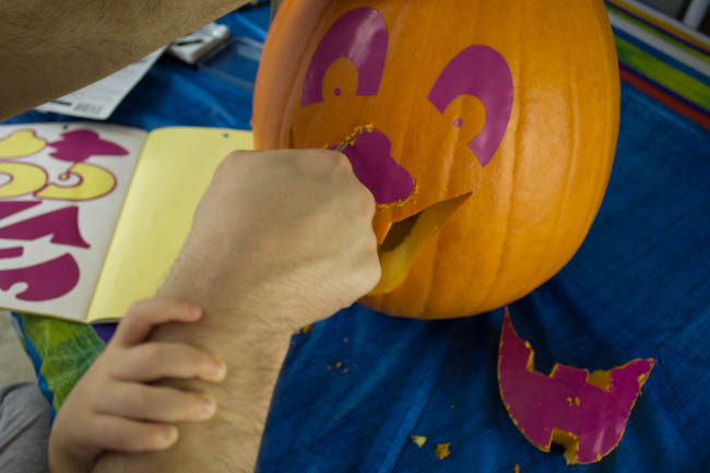 5 Tips to make pumpkin carving fun with kids. Use stickers as a carving guide. So easy