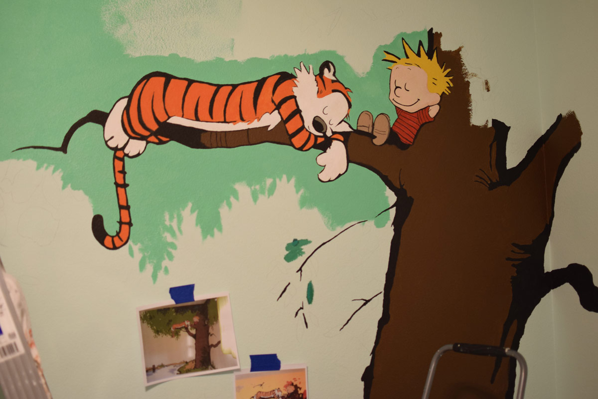 calvin and hobbes nursery mural. Black Bedroom Furniture Sets. Home Design Ideas