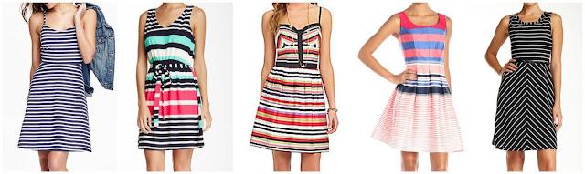 Old Navy Striped Fit & Flare Sundress $15.00 (regular $26.94)  Love Zoe Striped V-Neck Dress $26.97 (regular $60.00)  Jessica Simpson Avette Striped Dress $48.30 (regular $69.00)  Tiana B Sleeveless Stripe Fit and Flare Dress $52.80 (regular $88.00)  Marc New York Sleeveless Belted Fit & Flare Dress $69.97 (regular $168.00)