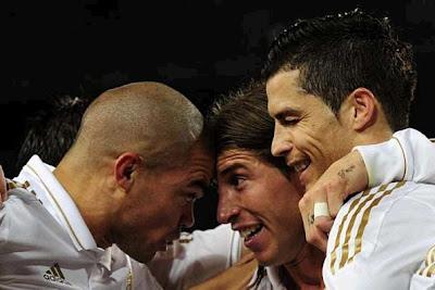 Pepe, Sergio Ramos and Cristiano Ronaldo celebrates a goal