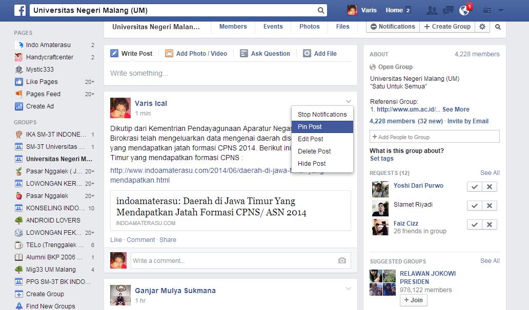 Membuat Potingan Pada Group Facebook Selalu Berada Paling Atas 1