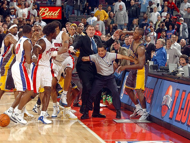 greatest brawl Ron Artest Detroit Pistons Pacers brawl