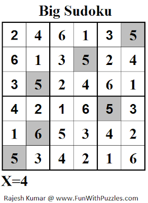 Big Sudoku (Mini Sudoku Series #52) Solution