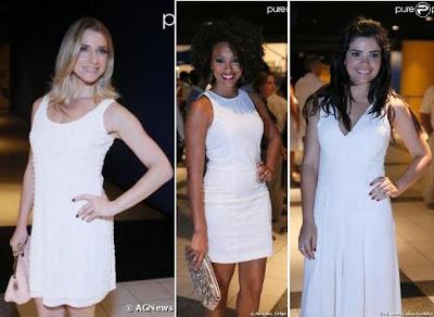 Letícia Spiller, Sheron Menezes e Vanessa Giácomo apostam no branco básico em seus looks no show de Roberto Carlos. Inspiração para Reveillon 2013.