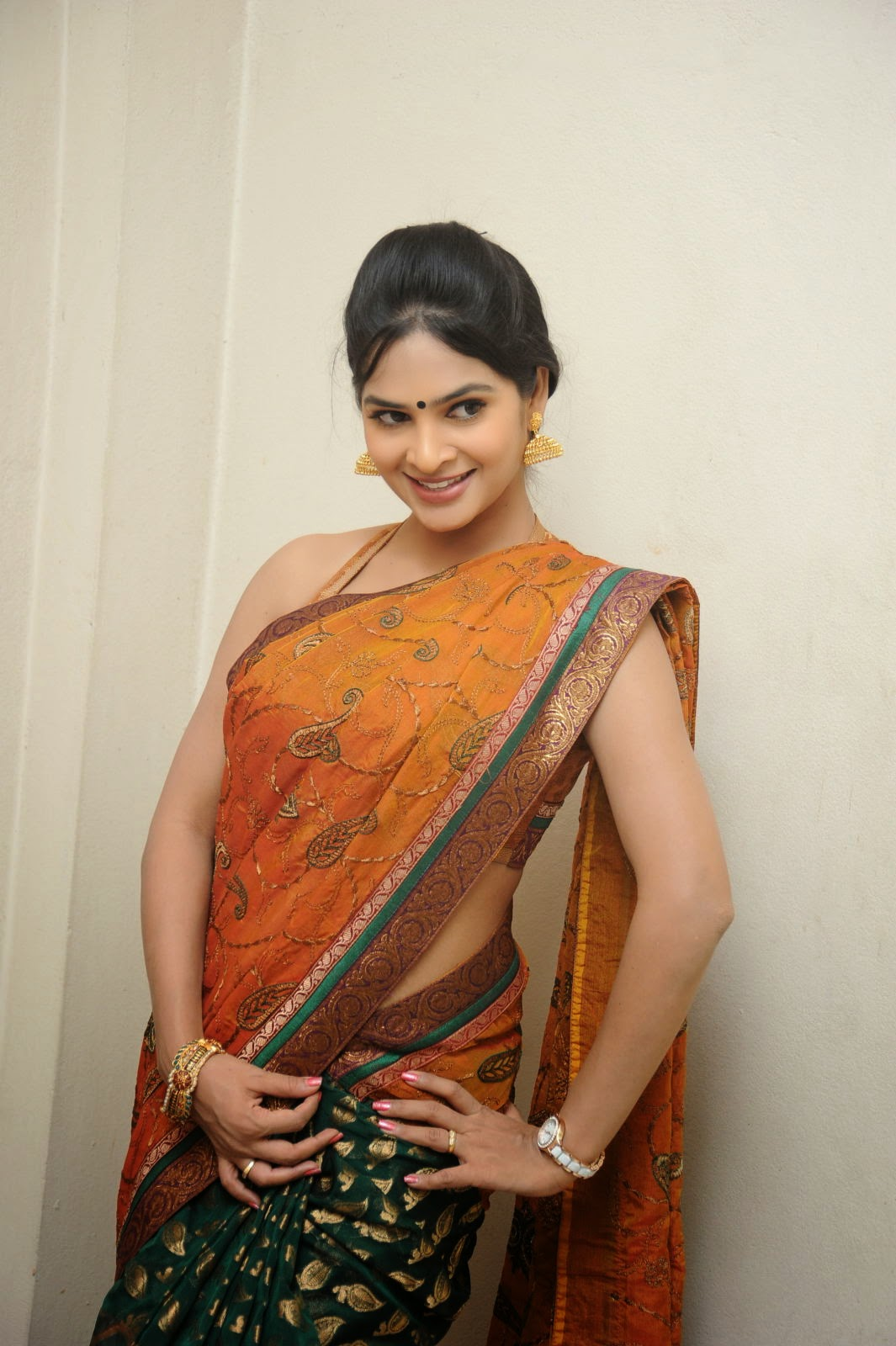 Madhumitha sizzling pics in saree-HQ-Photo-6