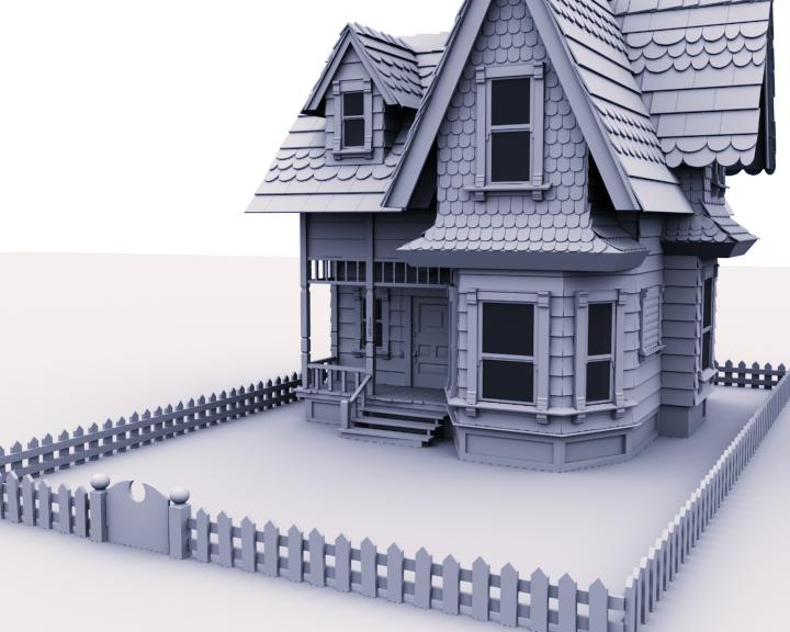 Freshblackline la maison de up pixar for Modelisation maison 3d