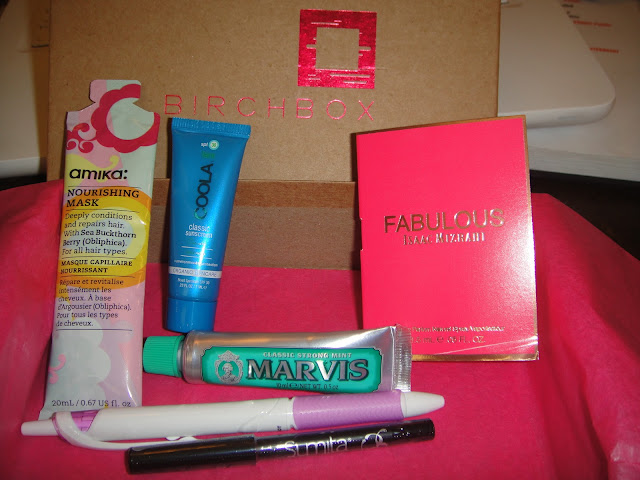 Amika Oblipphica Nourishing Mask, birchbox, birchbox may 2013, Isaac Mizrahi Fabulous Eau de Parfum, Marvis Classic Mint Toothpaste, Sumita Color Contrast Eyeliner, Pilot Acroball Pure White Pen in Purple