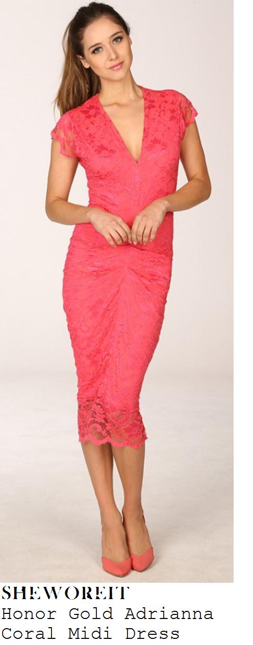 michelle-heaton-coral-pink-floral-lace-cap-sleeve-v-neck-midi-dress-lorraine