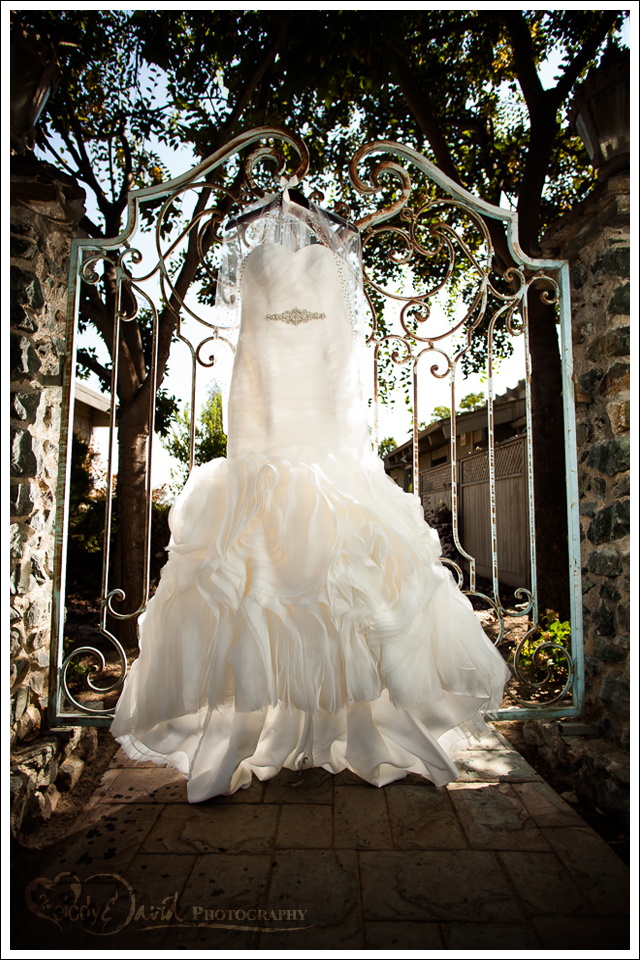 lit wedding dress hanging from gate outside