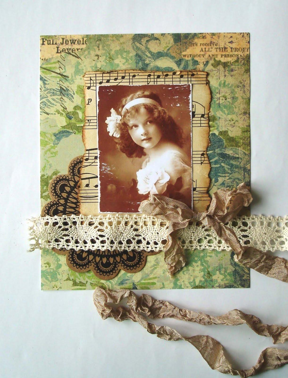Винтажный цветок открытка
