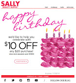 Sally's $10 Coupon