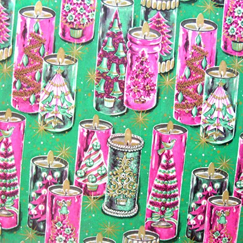 vintage christmas wrapping paper candles