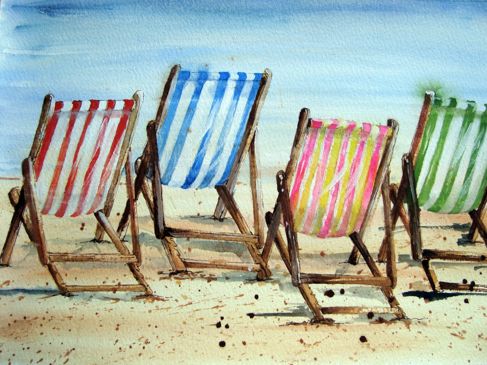 Beach chair drawing - I Had No Desire To Draw Each Individual Chair I M Hopeless At Things Like This So I Spent Ages Drawing One Chair As Accurately As Possible On An Old Piece