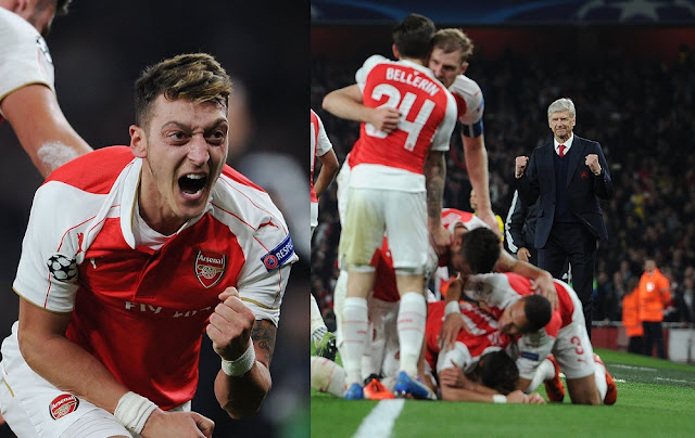ozil goal celebration arsenal vs bayern munich 2015