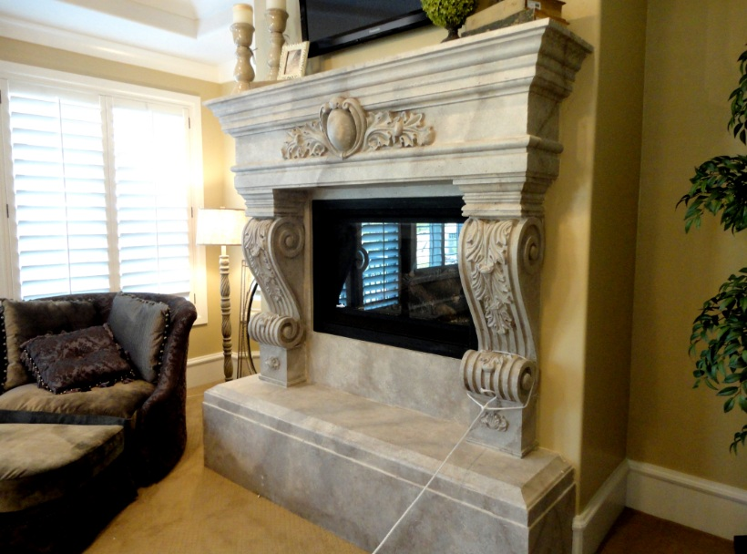 Another white cast fireplace faux painted to look like marble - Artistic Murals: White Cast Fireplaces Hearth And Mantel, Painted