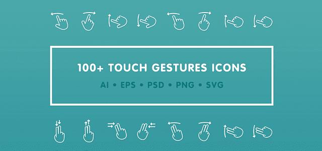 タッチ操作時の手の動きをモチーフにした無料アイコン素材